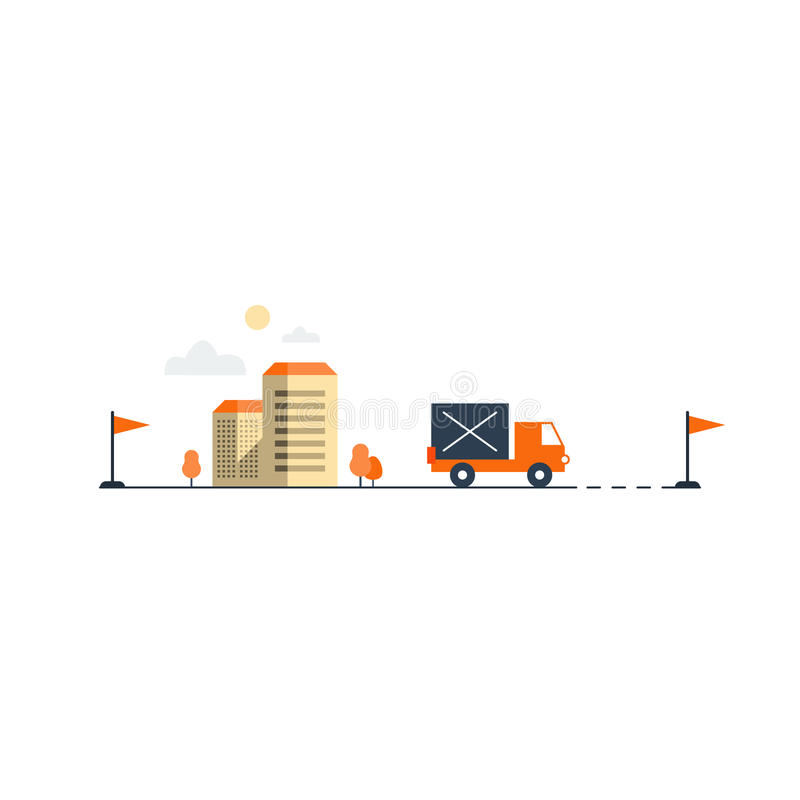 Logistics company, truck delivery vector illustration