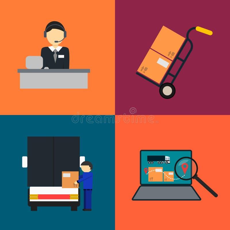 Logistics company and warehouse icon set vector illustration