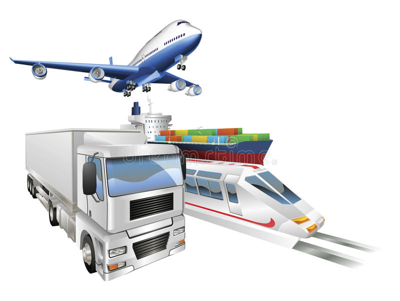 Download Logistics Concept Airplane Truck Train Cargo Ship Stock Vector - Image: 19836406