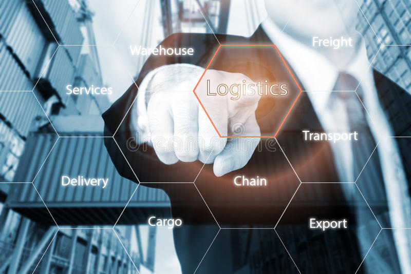 Logistics concept with businessman hand holding digital tablet s royalty free stock images