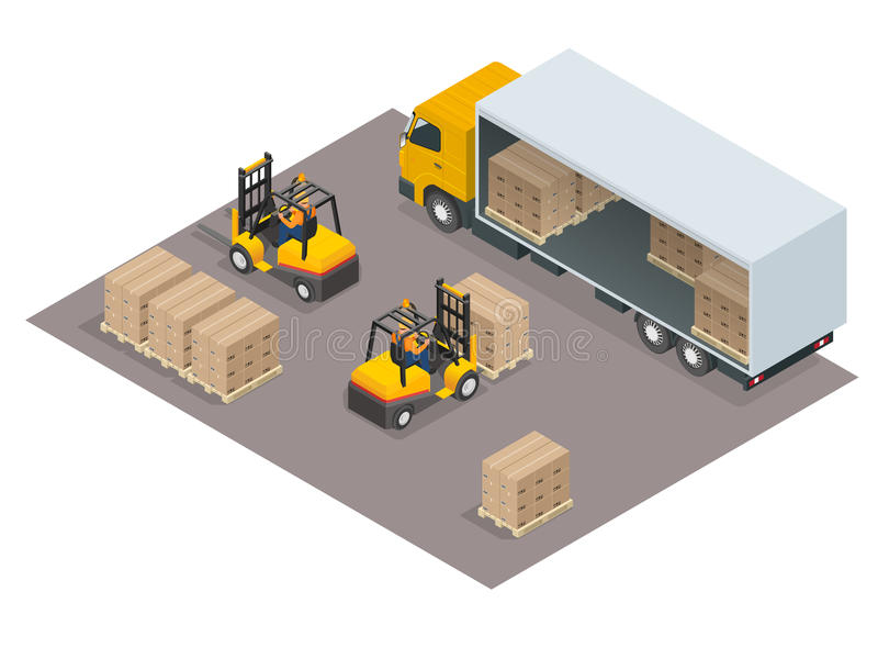 Logistics concept. Loading cargo in the truck. Delivery service vector isometric illustration. Infographic element or icon representing box truck and forklift stock illustration