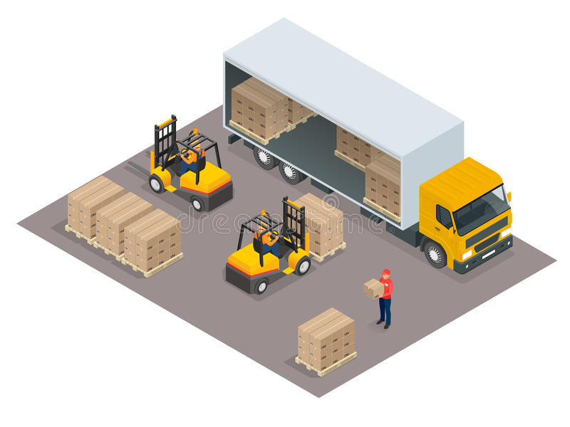 Logistics concept. Loading cargo in the truck. Delivery service vector isometric illustration. Infographic element or icon representing box truck and forklift royalty free illustration