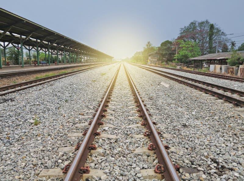 Logistics concept.Rail way leading to the Horizon stock photos