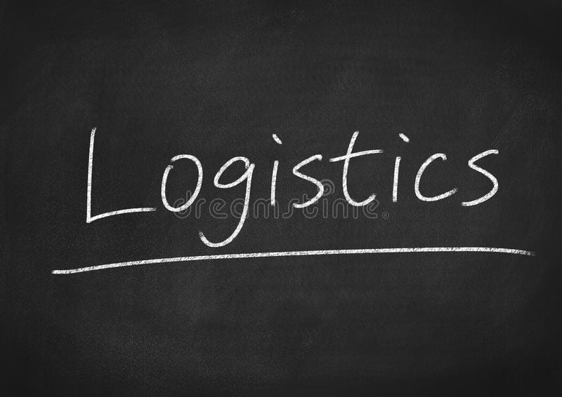Logistics. Concept word on blackboard background royalty free stock photos