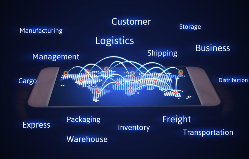 Logistics concept, world map with connecting transport and virtual screen on smartphone. royalty free stock photography