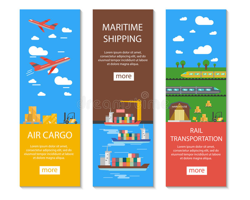 Logistics And Delivery Banners Set. Logistics and delivery vertical banners set with air cargo maritime shipping and rail transportation symbols flat vector vector illustration