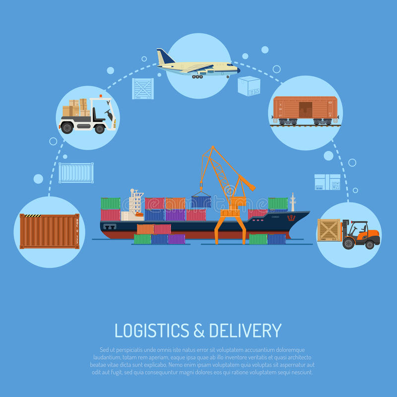 Logistics and delivery concept. With flat Icons Set sea, rail and air transport. isolated vector illustration stock illustration