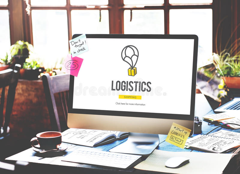 Logistics Delivery Freight Shipping Storage Service Concept.  royalty free stock photography