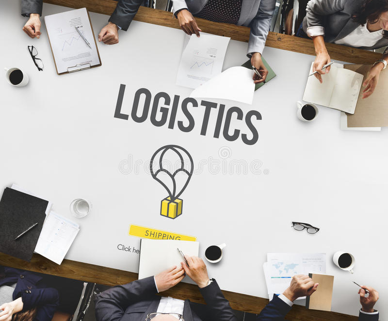 Logistics Delivery Freight Shipping Storage Service Concept. Business People Logistics Shipping Concept royalty free stock photos