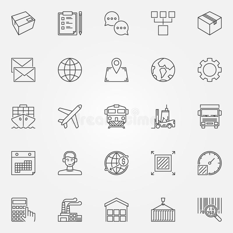 Logistics and delivery icons set. Vector shipping and wholesale concept signs in thin line style royalty free illustration