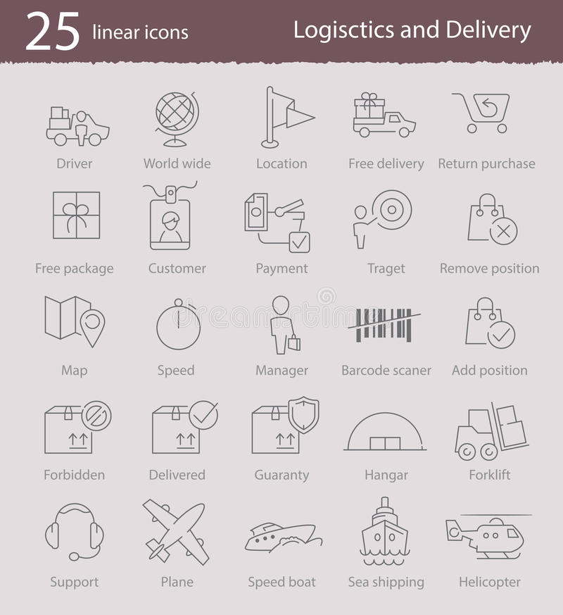 Logistics and delivery icons. Vector linear logistics and delivery icons set for web design, application interface or infographics vector illustration
