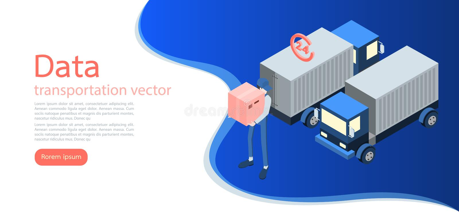 Logistics and Delivery Infographics.Isometric,truck,drone and delivery man. Vector illustration stock illustration