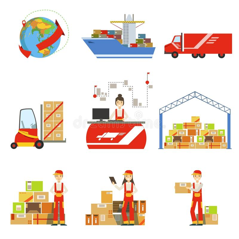 Logistics And Delivery Process And Managers Set vector illustration