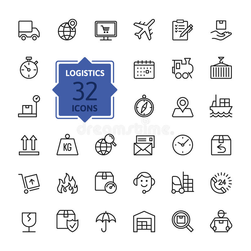 Logistics, delivery, transportation Icon set. Vector Illustration. Web icons collection - Logistics, delivery, transportation. Vector, thin line set royalty free illustration