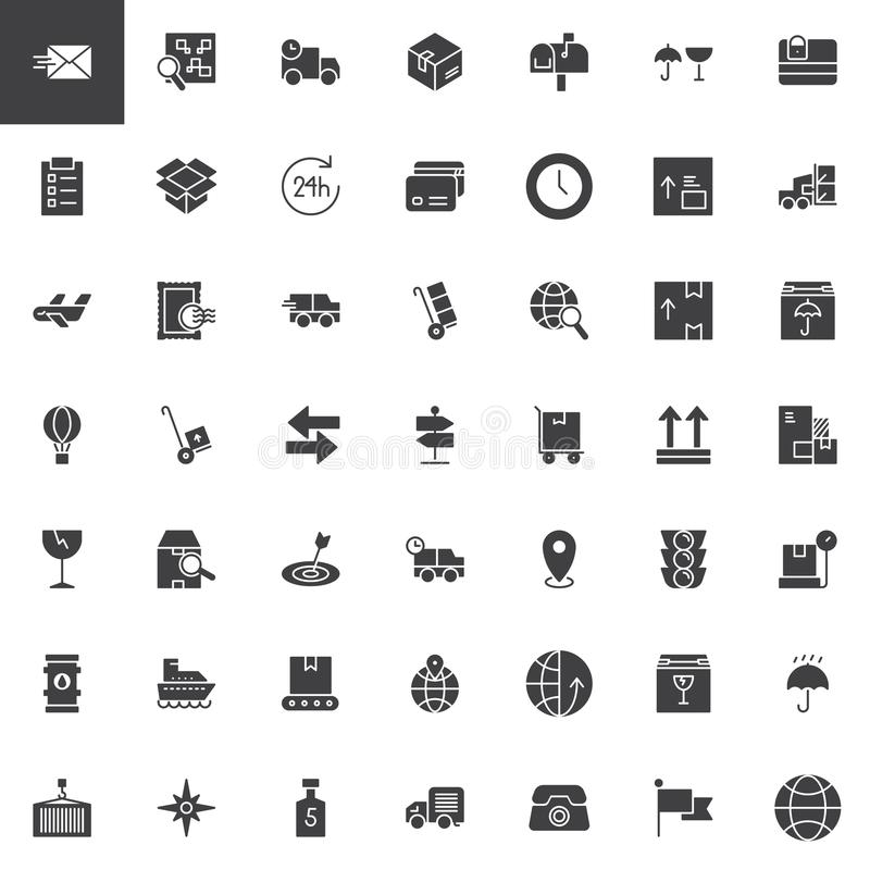 Logistics and delivery vector icons set. Modern solid symbol collection, filled style pictogram pack. Signs, logo illustration. Set includes icons as cardboard royalty free illustration