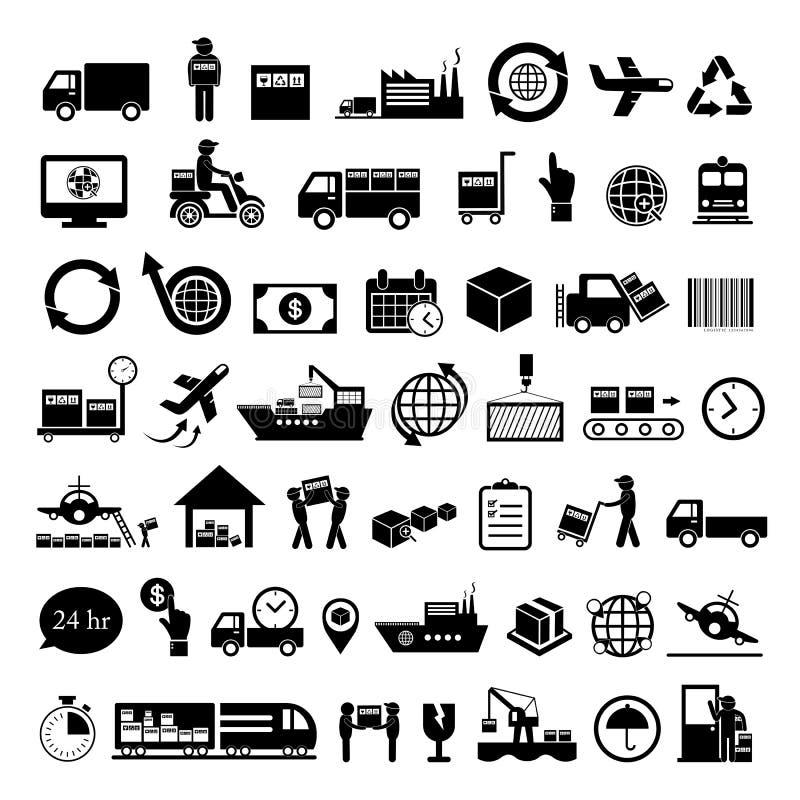 Logistics export icon set stock illustration