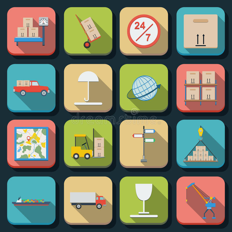 Logistics flat vector icons royalty free illustration