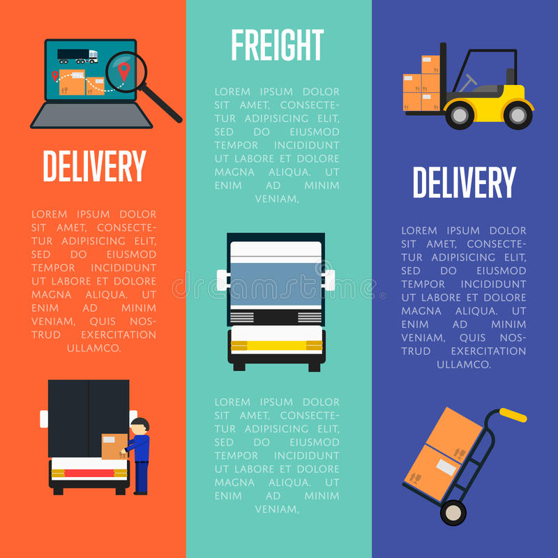 Logistics and freight delivery banners set. Logistics and freight delivery banners vector illustration. Freight commercial truck, laptop with delivery map stock illustration