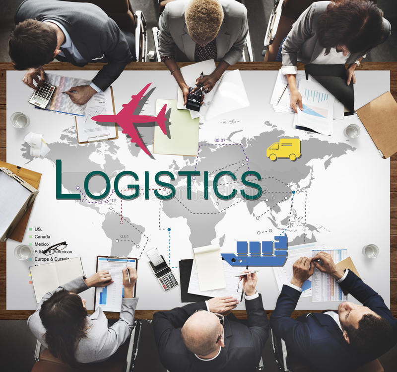 Logistics Freight Management Storage Supply Concept. Diverse business people meeting logistics word transportation world map graphic stock image