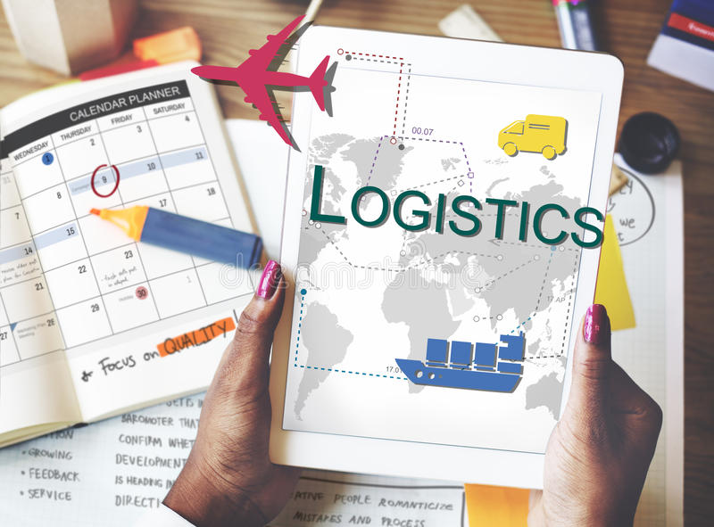 Logistics Freight Management Storage Supply Concept. People Checking Logistics Freight Storage stock image