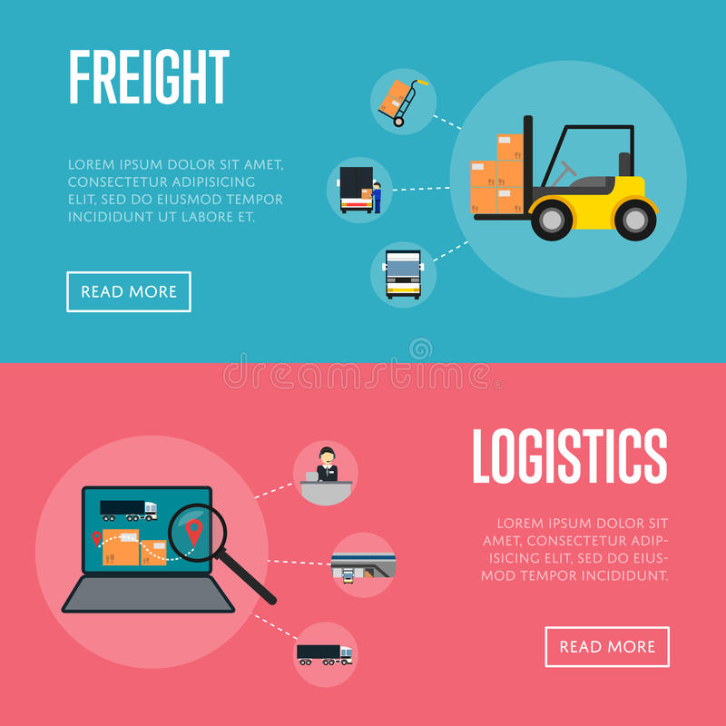 Logistics and freight shipment banners set stock illustration