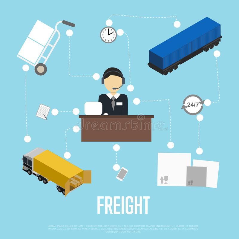 Logistics and freight shipment flowchart. Isometric illustration. Services operator coordinating cargo transportation. Warehouse logistics manager, freight vector illustration