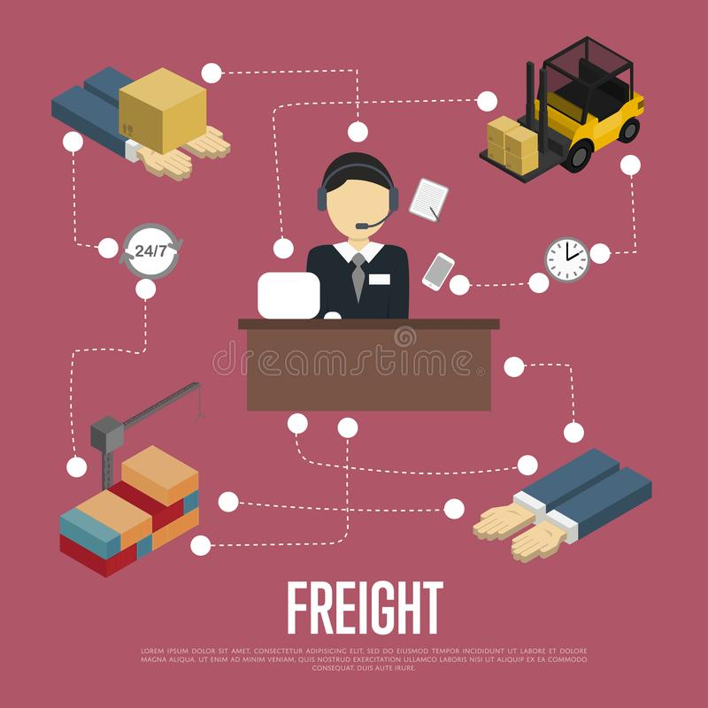Logistics and freight shipment flowchart. Isometric illustration. Services operator coordinating cargo transportation. Warehouse logistics manager, freight royalty free illustration
