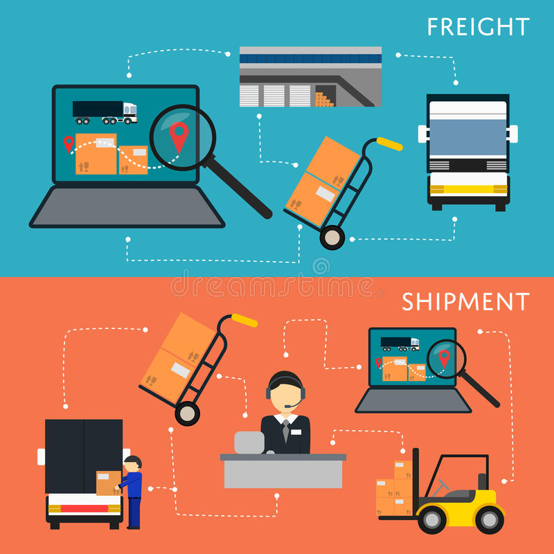 Logistics and freight shipment flowchart set. Vector illustration. Services operator coordinating cargo transportation. Warehouse logistics manager, freight vector illustration