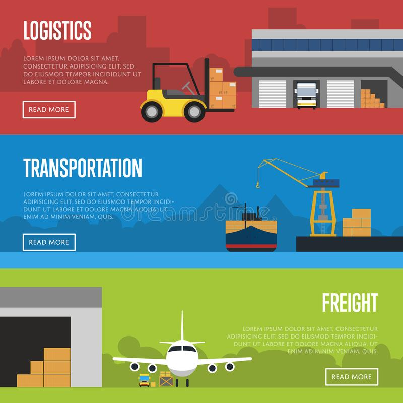 Logistics and freight transportation banner set royalty free illustration
