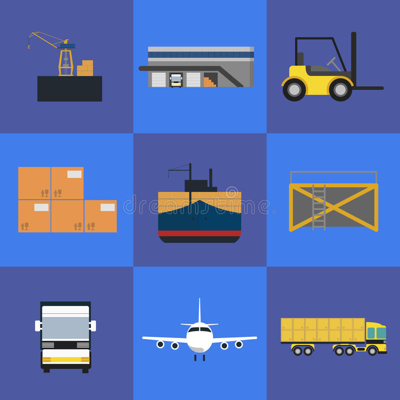 Logistics and freight transportation icon set stock illustration