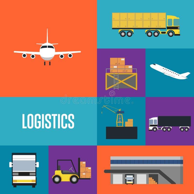 Logistics and freight transportation icon set stock illustration