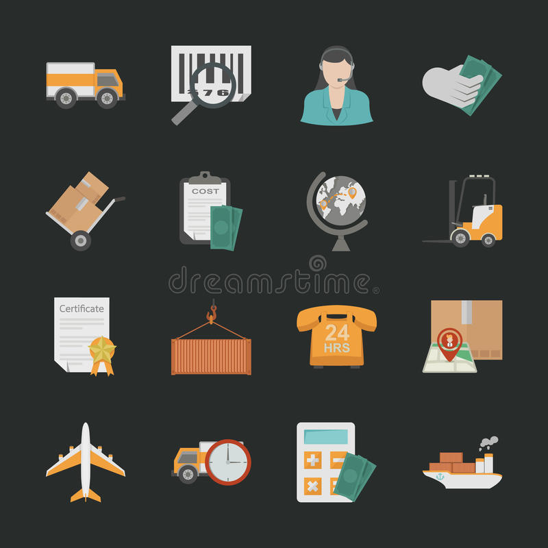 Download Logistics Icons With Black Background Stock Vector - Illustration of package, merchandise: 37227751