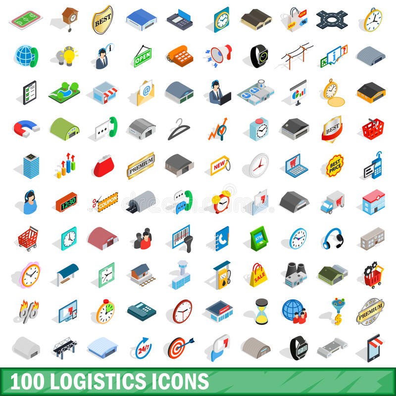 100 logistics icons set, isometric 3d style stock illustration
