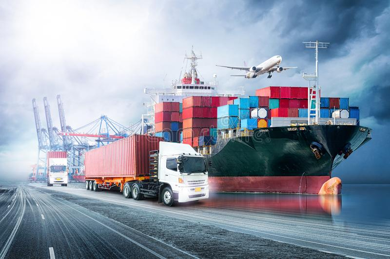 Logistics import export background and transport industry of Container Cargo freight ship stock photography
