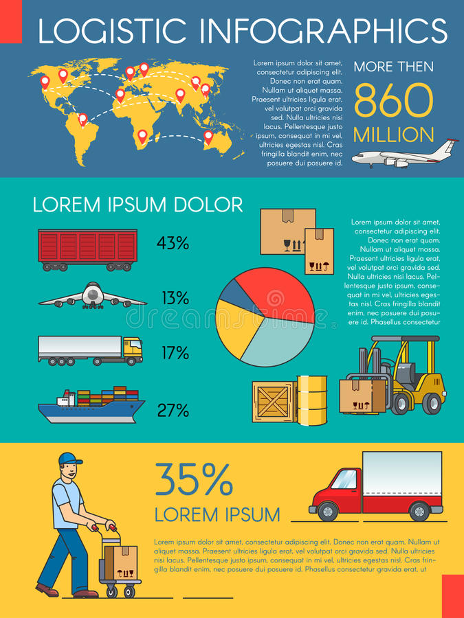 Logistics infographic elements and transportation concept of train, cargo ship, air export. Trucking freight stock illustration