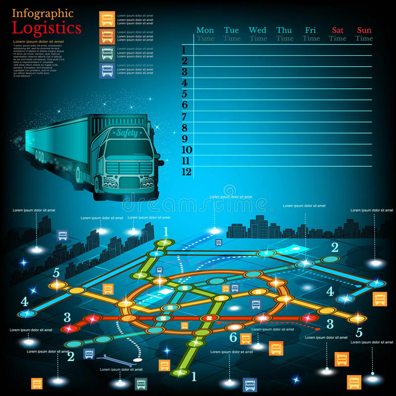 Logistics infographic with lines of delivery on city map. Topography simbols, timetable on week. And other info royalty free illustration