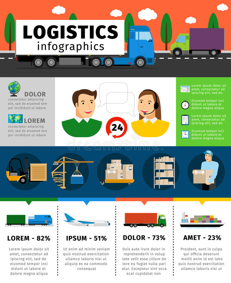 Logistics infographics vector illustration. Cargo transportation concepts with shipping and containers, train air royalty free illustration