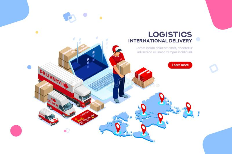 Logistics of International Delivery Supply Network. Distribution, global factory infographic. Good trade and logistics, international delivery. Supply network vector illustration