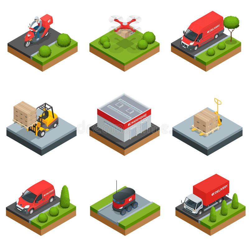Logistics isometric icons set of different transportation distribution vehicles and delivery elements vector royalty free illustration
