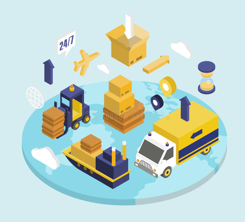 Logistics Isometric Set vector illustration