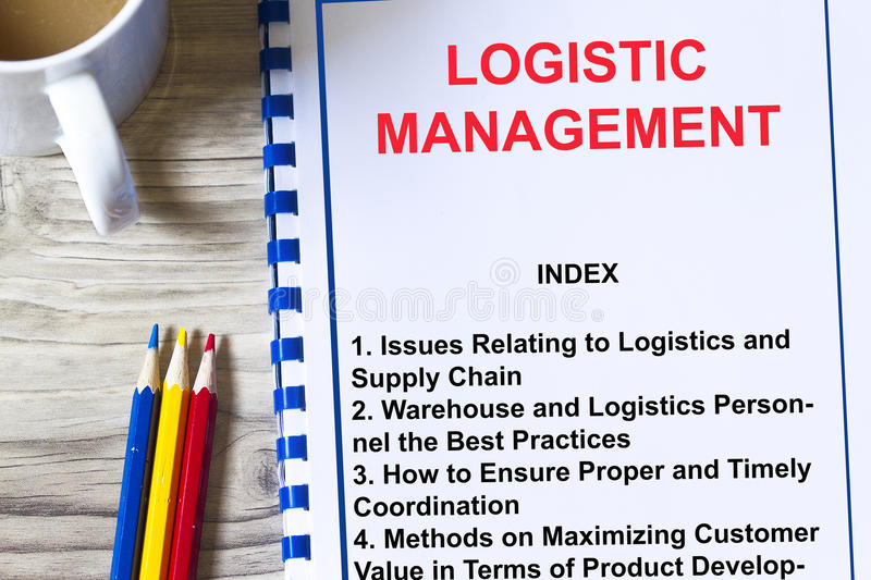 Logistics management concept. Complete with topics about logistics on a cover sheet of a lecture royalty free stock photography