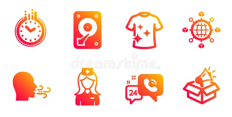 Logistics network, 24h service and Time icons set. Breathing exercise, Hospital nurse and Hdd signs. Vector. Logistics network, 24h service and Time line icons royalty free illustration