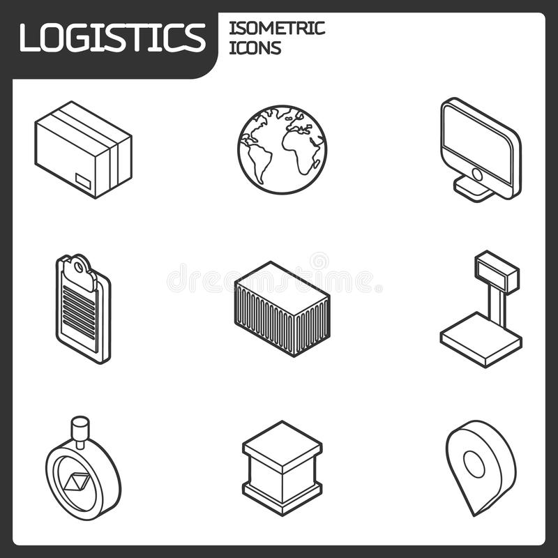 Logistics outline isometric icons vector illustration