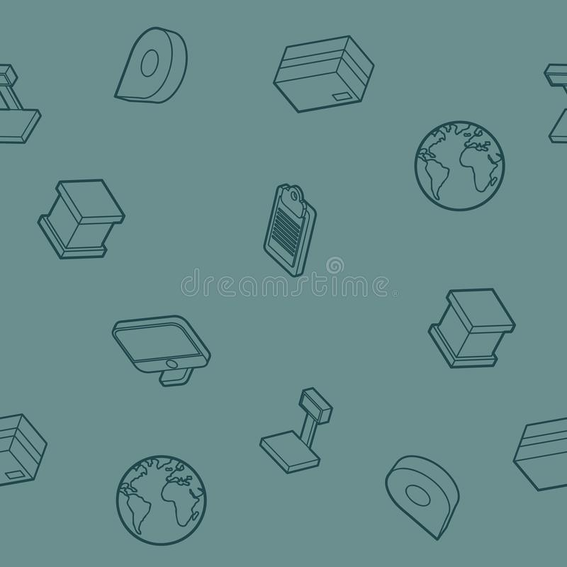 Logistics outline isometric pattern vector illustration