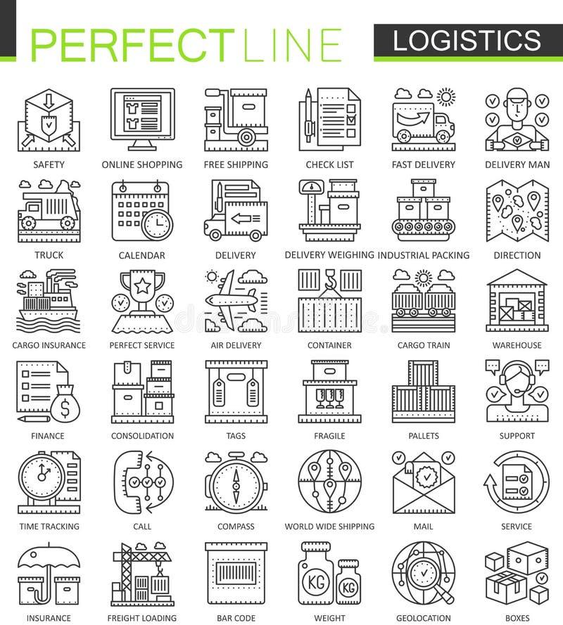 Logistics outline mini concept symbols. Modern stroke linear style illustrations set. Logistic transportation perfect stock illustration