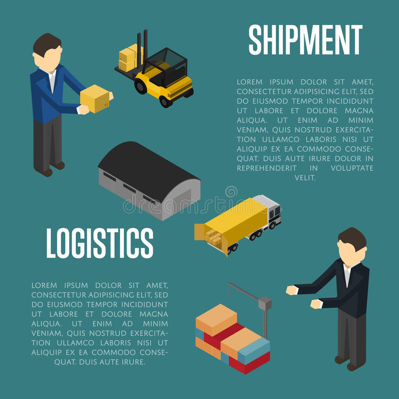 Logistics shipment isometric banner with people royalty free illustration