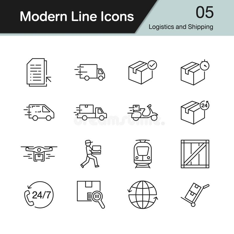 Logistics and Shipping icons. Modern line design set 5. royalty free illustration