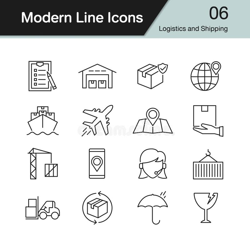 Logistics and Shipping icons. Modern line design set 6. royalty free illustration