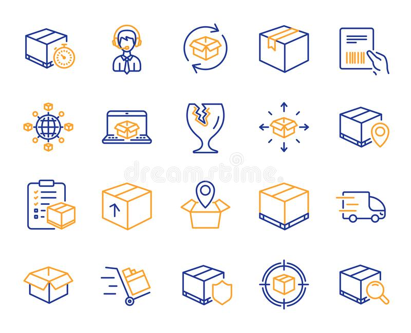 Logistics and Shipping icons. Truck Delivery. Vector. Logistics, Shipping document line icons. Set of Truck Delivery, Box and Checklist icons. Parcel tracking stock illustration