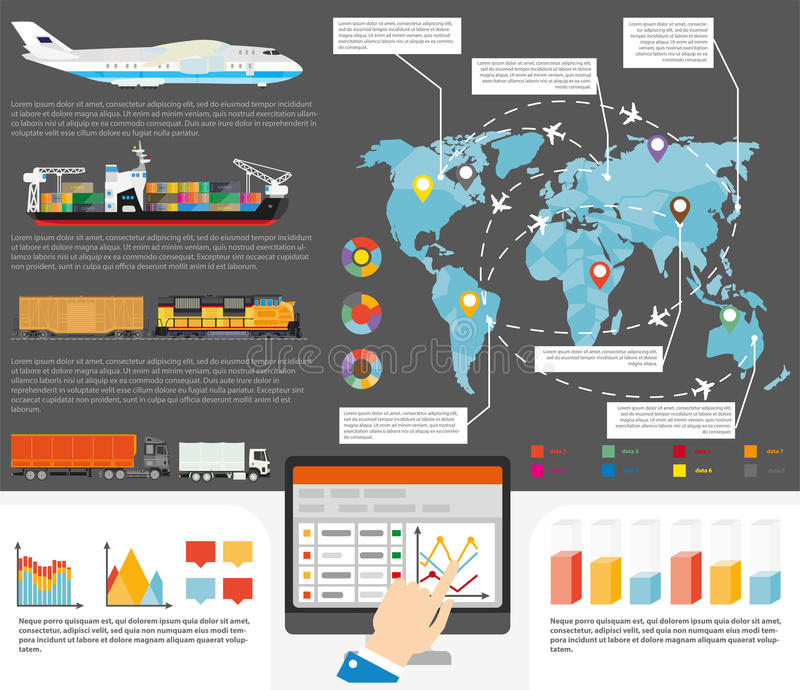 Logistics shipping infographics template vector stock illustration